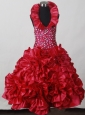 2013 Red Little Girl Pageant Dress  With Hand Made Flowers and Beading