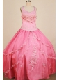 Appliques Ball Gown 2013 Little Girl Pageant Dress Straps With Watermelon Organza