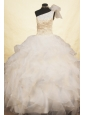 Beaded Decorate Exquisite One Shoulder Neckline White Flower Girl Pageant Dresses