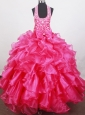 Beaded Decorate Halter and Bowknot For Little Girl Pageant Dresses With Ruffles