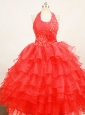 Beaded Red Halter Top Organza Little Girl Pageant Dresses With Ruffles