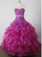 Beading and Ruffles Hand Made Flowers Gorgeous Ball Gown Little Girl Pageant Dress Sweetheart Floor-length