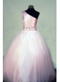 Beading Perfect Ball gown Tulle One Shoulder Floor-length Pink Little Girl Pageant Dresses