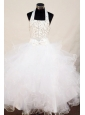 Beading Sweet Ball gown Halter Floor-length Organza White Little Girl Pageant Dresses