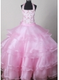 Beautiful Halter Top Little Girl Pageant Dresses  With Embroidery Decorate Bodice