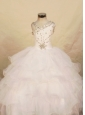 Beautiful White Ball gown Organza One Shoulder Floor-length Beading Little Girl Pageant Dresses