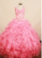 Best Ruffles 2013 Little Girl Pageant Dress Square Neck With Floor-Length Organza