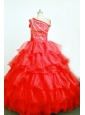 Brand New Ball Gown One Shoulder Red Little Girl Pageant Dresses Floor-Length