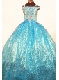 Brand New Paillette Over Skirt Ball Gown Strap Teal Little Girl Pageant Dresses
