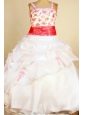 Custom Made Little Girl Pageant Dresses Ball Gown Square Neck Pick-ups White