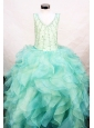 Custom Made Ruffles V-neck Organza Little Girl Pageant Dresses With Multi-color