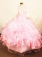 Customize Halter Top Baby Pink Organza Beading Little Girl Pageant Dresses