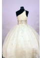 Cute Ball gown One Shoulder Floor-length Organza Yellow Beading Little Girl Pageant Dresses