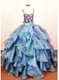 Elegant Ruffled Layeres Little Girl Pageant DressesSquare Neck Organza Floor-Length Ball Gown
