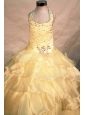 Exquisite Beading Ball gown Halter Organza Yellow Floor-length Little Girl Pageant Dresses