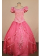 Formal WatermelonLittle Girl Pageant Dress Scoop Neck With Applqiues Organza