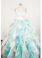 Gorgeous A-Line Beaded Decorate Shoulder Multi-color Organza Beading Little Girl Pageant Dresses