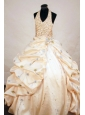 Gorgeous Taffeta Ball gown Halter Yellow Floor-length Beading Little Girl Pageant Dresses