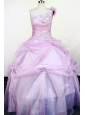 Hand Made Flowers One Shoulder Lilac Appliques Little Girl Pageant Dresses