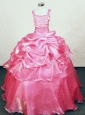 Hottest Appliques Straps Rose pink Organza Beading Little Girl Pageant Dresses