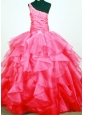 Lovely Beaded Decorate Bust One Shoulder Neck Ruffled Layers Coral Red Little Girl Pageant Dresses