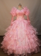 Luxurious Watermelon Organza Flower Girl Pageant Dress With Long Sleeves Appliques and Ruffled Layers Decorate