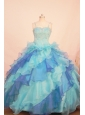 Multi-color Beaded and Ruffled Layers Decorate Organza Gorgeous Flower Girl Pageant Dress With Spaghetti Straps