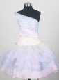 One Shoulder and Ruffled Layers For Colorful Little Girl Pageant Dresses  With Beading