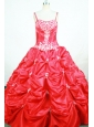 Pick-ups Straps Floor-length Red Taffeta Appliques Little Girl Pageant Dresses