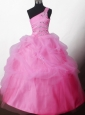 Pretty Ball Gown Beading One-shoulder Floor-length Little Girl Pageant Dress