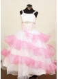 Pretty Pink and White Little Girl Pageant Dress Beaded Decorate With Ruffled Layeres Organza