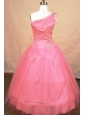 Romantic Ball gown One Shoulder Floor-length Tulle Pink Beading Little Girl Pageant Dresses