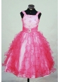 Ruffles Brand New Straps Red Organza Beading Little Girl Pageant Dresses