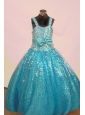 Sequin and Bowknot For Aqua Blue Little Girl Pageant Dresses