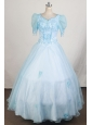 Short Sleeves and Light Blue For Fashionable Little Girl Pageant Dresses With Beading