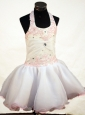 Sweet Appliques and Beading Decorate Bodice Ball Gown Halter Short Little Girl Dress