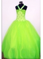 Sweet Ball Gown Halter Top Floor-length Spring Green Beading Little Girl Pageant Dresses