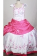 White and Hot Pink Cap Sleeves Embroidery Decorate Flower Girl Pageant Dress