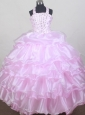 2013 Brand New Halter Baby Pink Flower Girl Pageant Dress With Beaded and Ruffled Layers Decorate