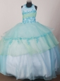 Appliques Decorate Apple Green and Light Blue Halter Flower Girl Pageant Dress
