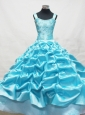 Baby Blue Little Girl Pageant Dresses With Appliques and Pick-ups