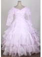 Baby Pink 2013 Popular Flower Girl Pageant Dress With Long Sleeves Embroidery and Ruffled Layers Decorate