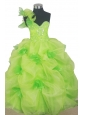 Beading Cute Ball Gown Little Girl Pageant Dress One Shoulder Floor-length