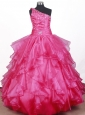 Beautiful Beading Ruffles Ball Gown Little Girl Pageant Dress One Shoulder Floor-length