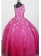 Brand new Beading Hand Made Flowers Ball Gown Strap Floor-length Little Girl Pageant Dress