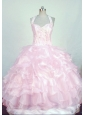 Classical Halter Top Baby pink Organza Beading Little Girl Pageant Dresses With Ruffles