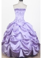 Elegant Embroidery With Beading Ball Gown Strapless Floor-length Little Girl Pageant Dress