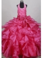 Fushsia Flower Girl Pageant Dress  With Halter Neckline Beaded Decorate Bodice
