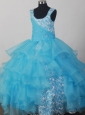 Lovely Light Blue Scoop Neckline Appliques Decorate Flower Girl Pagaent Dress