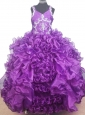 Luxurious Beading and Ruffles Ball Gown V-neck Little Girl Pageant Dress Floor-length